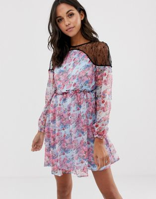 Boohoo Lace Yoke Printed Chiffon Dress