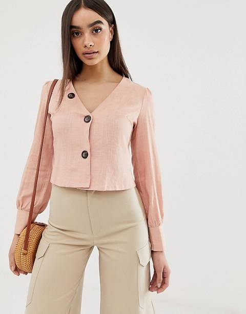 Boohoo linen button through top in pale pink