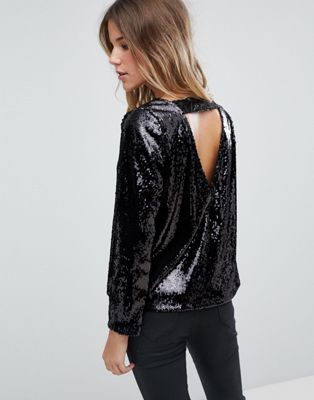 Boohoo long sleeve sequin open back top in black