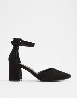 Boohoo low block heel ankle strap shoe in black