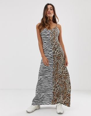 Image 1 of Boohoo maxi slip dress in mixed animal print