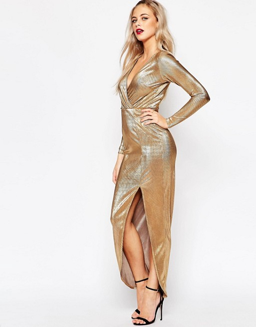 3a51e203b8 Boohoo Metallic Wrap Maxi Dress