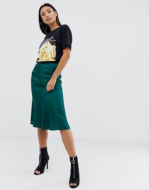 Boohoo midi satin skirt in green