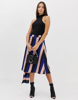 Boohoo midi skirt with contrast panels in stripe