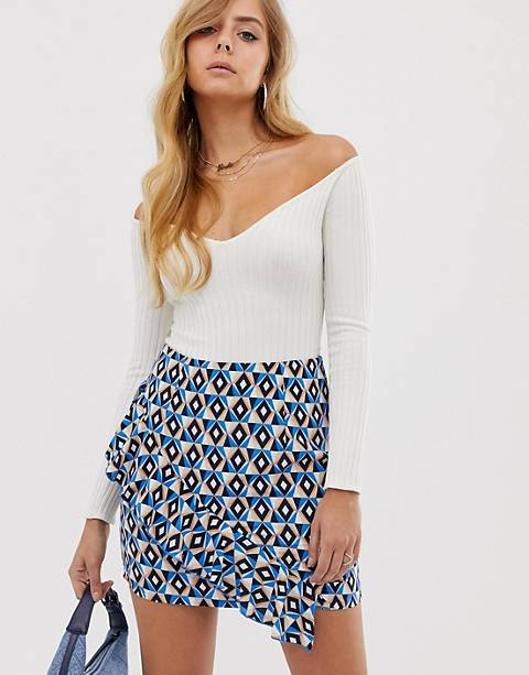 Boohoo mini skirt with asymmetric frill in blue geo