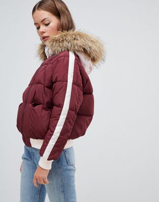 Boohoo padded jacket with side stripe and faux fur hood in burgundy