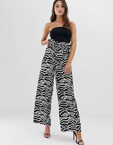 Boohoo paper bag wide leg trousers in zebra print