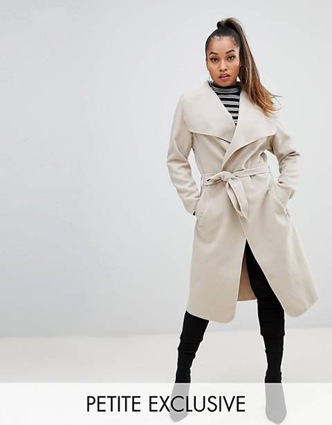 Boohoo Petite exclusive petite belted shawl coat in stone