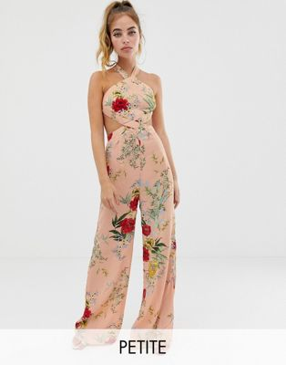 Image 1 of Boohoo Petite exclusive wide leg jumpsuit in pink floral with cut out detail