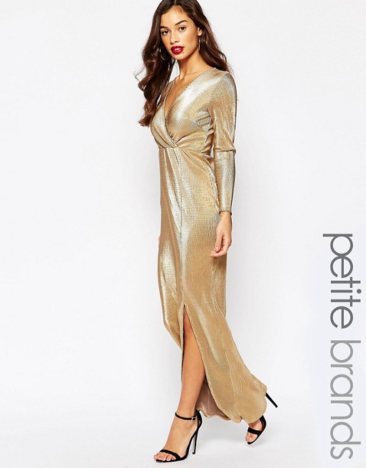 641470bf06 Boohoo Petite Metallic Pleated Wrap Maxi Dress