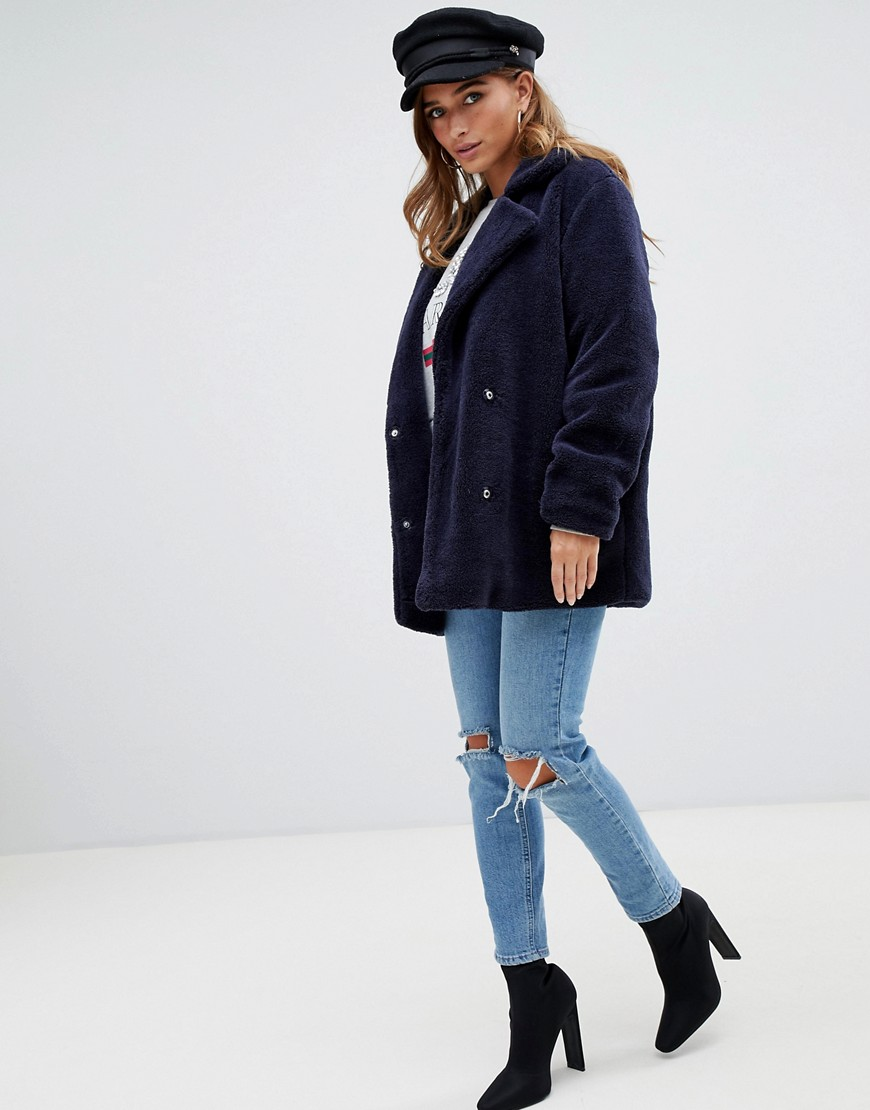 Boohoo Petite Teddy Coat In Navy by Boohoo