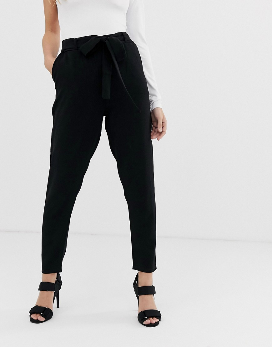 Boohoo Petite Tie Waist Cigarette Trousers In Black by Boohoo