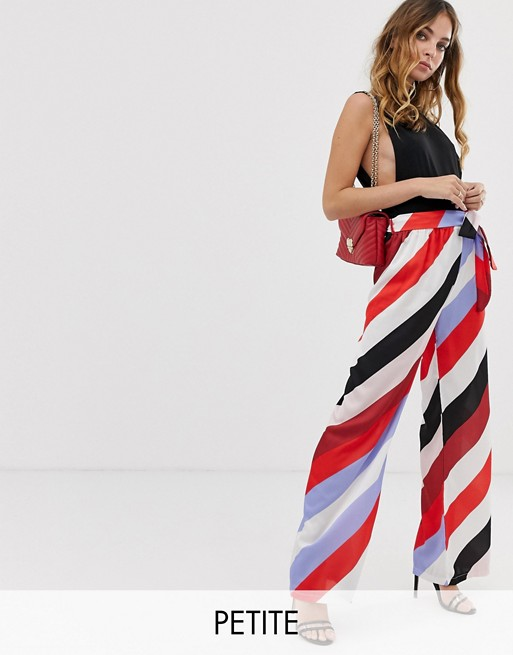 Image 1 of Boohoo Petite wide leg trousers in bright stripe