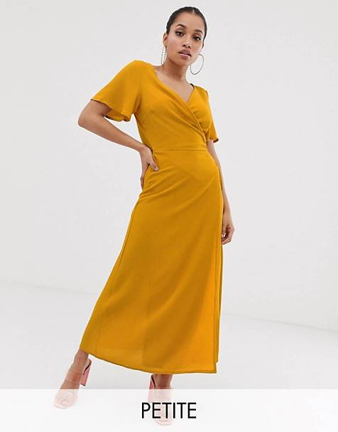 c10039c329 Boohoo Petite wrap over maxi dress in yellow