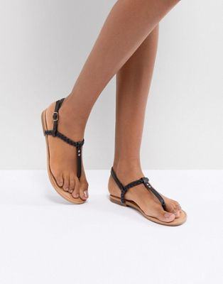 Boohoo Plaited T Bar Flat Sandals