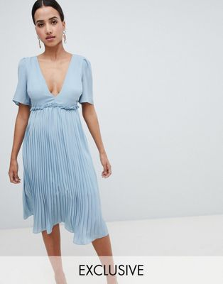 Boohoo Pleated Midi Dress