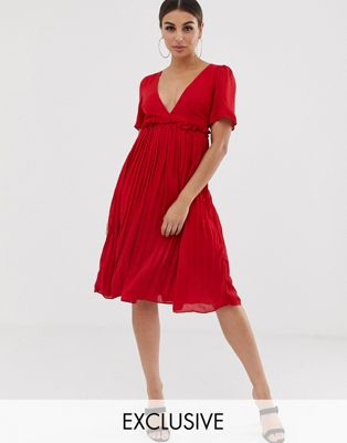 Image 1 of Boohoo plunge pleated midi dress in red