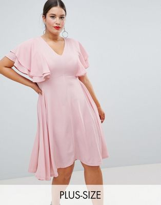 Image 1 of Boohoo Plus Angel Sleeve Midi Dress