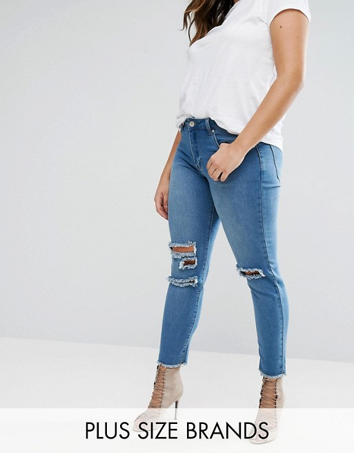 Boohoo Plus Distressed Denim Jeans