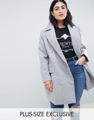 Boohoo Plus double breasted coat in gray