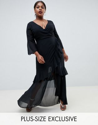 Image 1 of Boohoo Plus exclusive plus ruffle detail maxi dress in black
