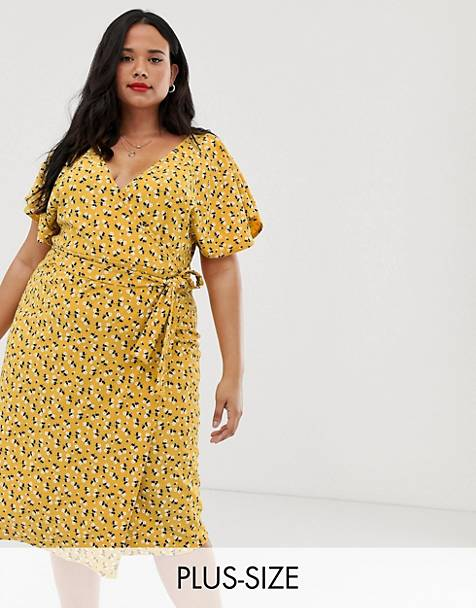 644226069 Boohoo Plus exclusive tie side midi dress in yellow floral