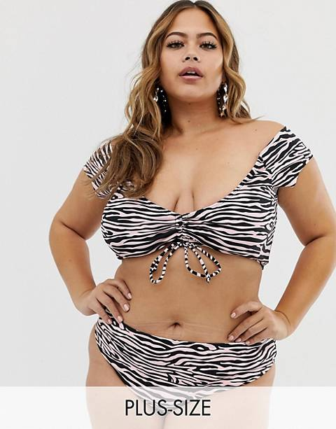 Boohoo Plus high waisted bikini brief in pink zebra