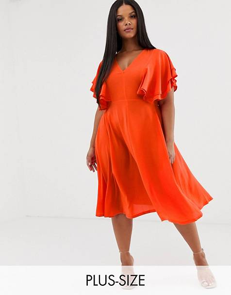381c7895ac98 Boohoo Plus midi skater dress with kimono sleeve in orange