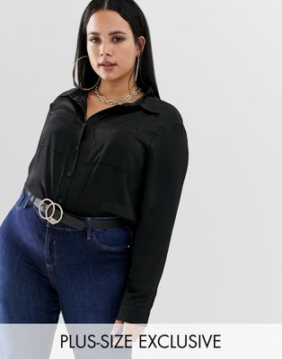 Boohoo Plus satin shirt in black