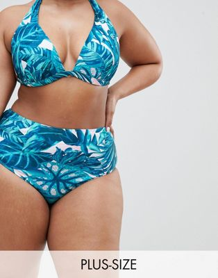 Boohoo Plus Tropical Print Bikini Brief