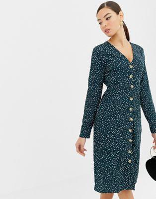 Boohoo polka dot  button through midi dress in green