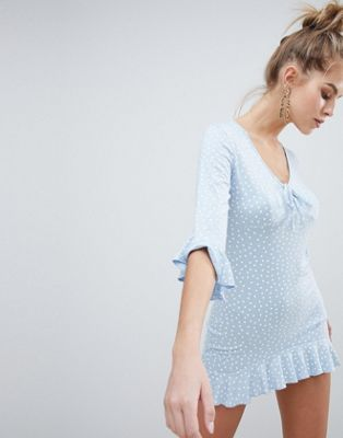 Boohoo Polka Dot Frill Hem Dress
