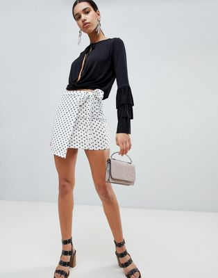 Boohoo Polka Dot Tie Side Skirt
