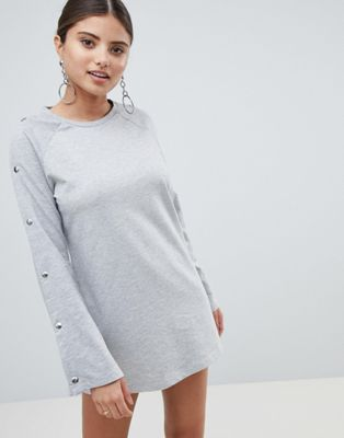 Boohoo Popper Sleeve Sweat Dress