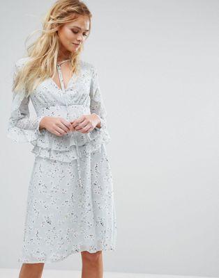 Boohoo Printed Ruffle Sleeve Dress