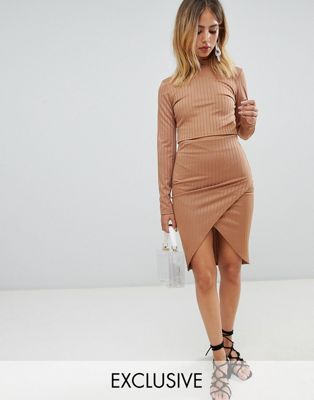 Boohoo Ribbed Wrap Midi Skirt