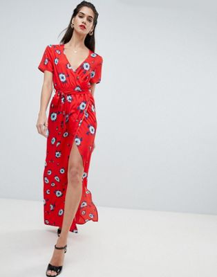 Boohoo - Robe portefeuille à motif floral fendue sur la cuisse