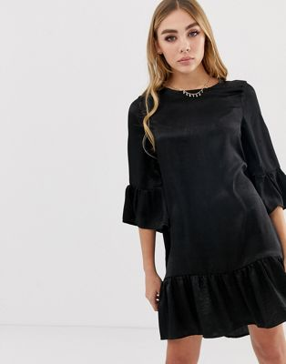 Boohoo satin frill hem and sleeve shift dress in black