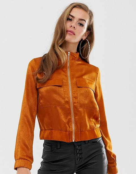 Boohoo satin pocket front jacket in rust