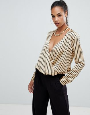 Boohoo satin wrap blouse in stripe