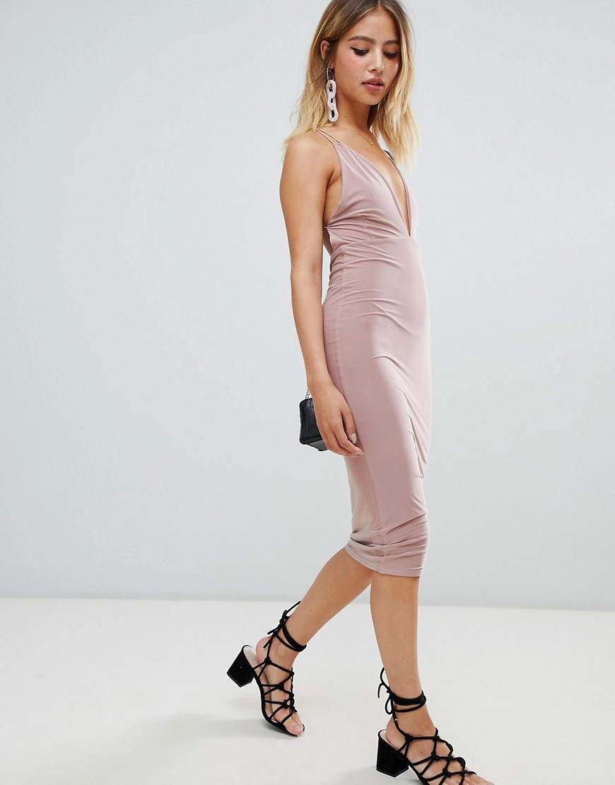 Boohoo Slinky Open Back Midi Dress by Boohoo