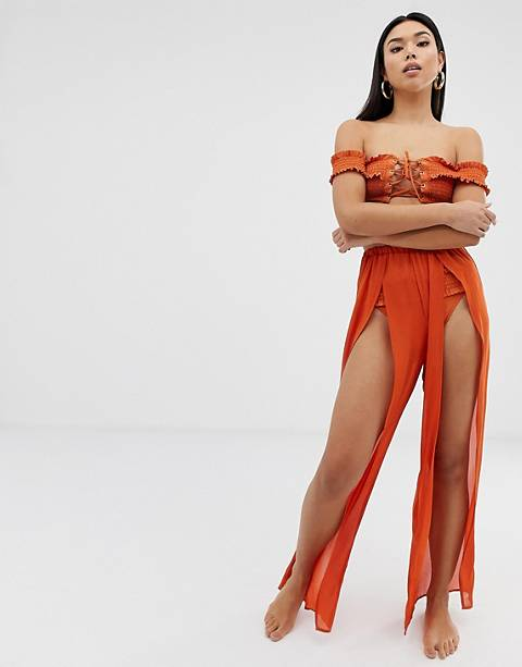 Boohoo split leg beach trouser in orange
