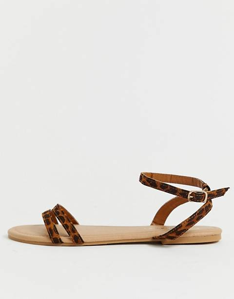 Boohoo strappy flat sandals with ankle strap in leopard
