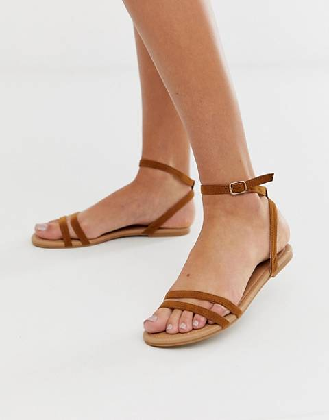 Boohoo strappy flat sandals with ankle strap in tan