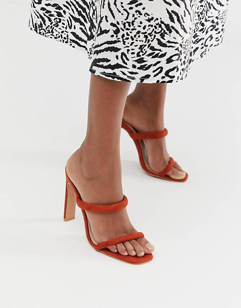 Boohoo strappy heeled sandals in dark orange