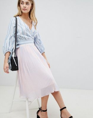 Image 1 of Boohoo Stripe Pleated Midi Skirt