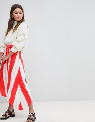 Boohoo Striped Asymmetric Midi Skirt