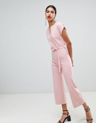 Boohoo tailored wide leg jumpsuit in pink