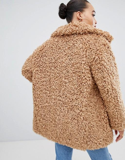 c58873db2af23 Boohoo teddy faux fur coat in camel   ASOS