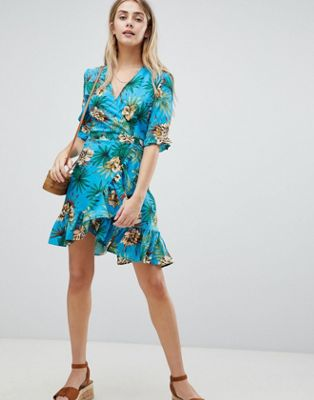 Boohoo Tropical Print Wrap Dress